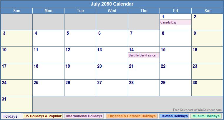July 2050 Calendar with US, Christian, Jewish, Muslim & Holidays.