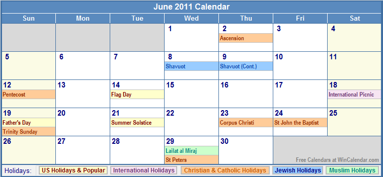June 2011 Calendar with Holidays - as Picture