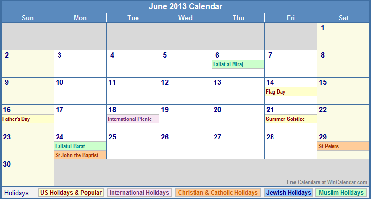 June 2013 Calendar with US, Christian, Jewish, Muslim & Holidays
