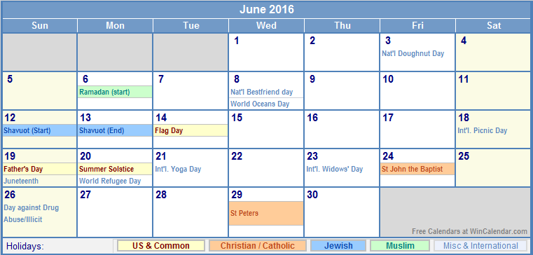 June 2016 Calendar with US, Christian, Jewish, Muslim & Holidays