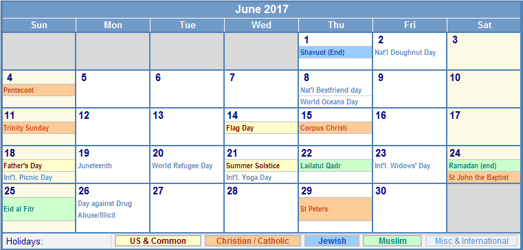 June 2017 US Calendar with Holidays for printing (image format)