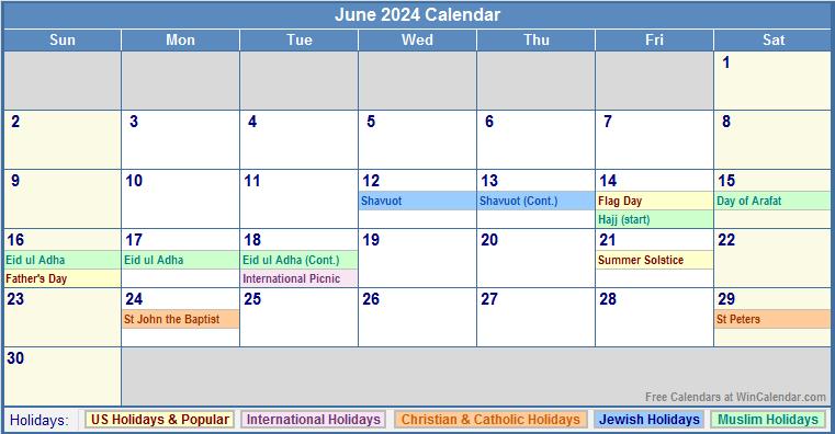 June 2024 Calendar with US, Christian, Jewish, Muslim & Holidays