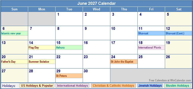 June 2027 Calendar with US, Christian, Jewish, Muslim & Holidays