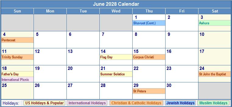 June 2028 Calendar with US, Christian, Jewish, Muslim & Holidays