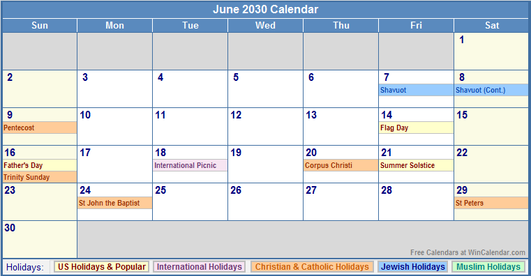 June 2030 Calendar with US, Christian, Jewish, Muslim & Holidays