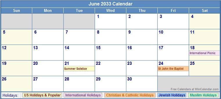 June 2033 Calendar with US, Christian, Jewish, Muslim & Holidays