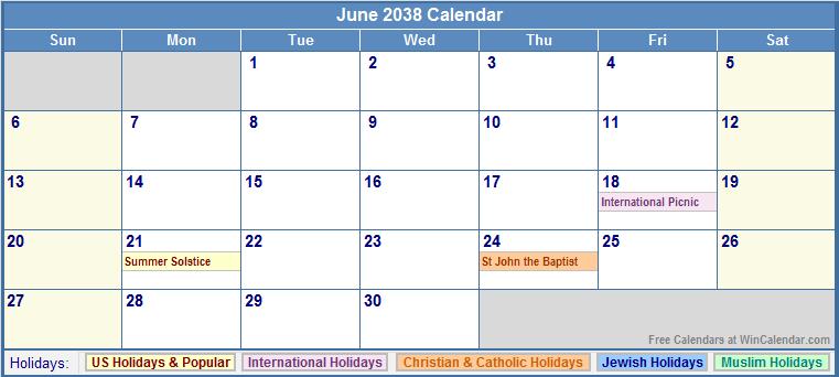 June 2038 Calendar with US, Christian, Jewish, Muslim & Holidays.