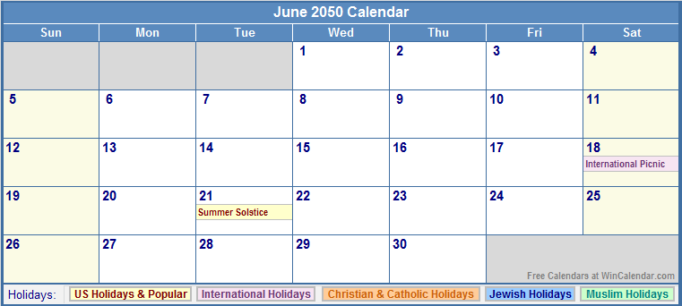 June 2050 Calendar with US, Christian, Jewish, Muslim & Holidays