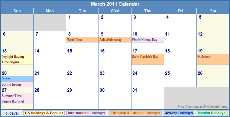 2011 calendar for march. March 2011 Calendar with Holidays