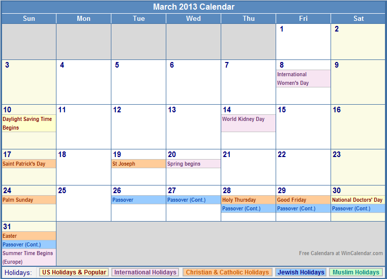 March 2013 Calendar with US, Christian, Jewish, Muslim & Holidays