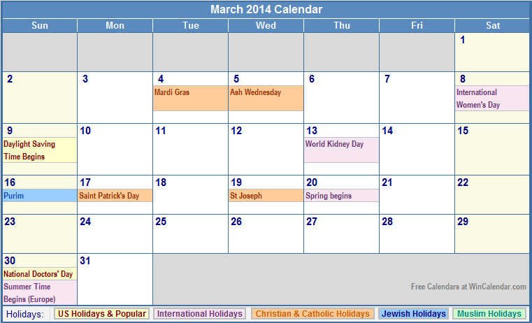 March 2014 Calendar with US, Christian, Jewish, Muslim & Holidays