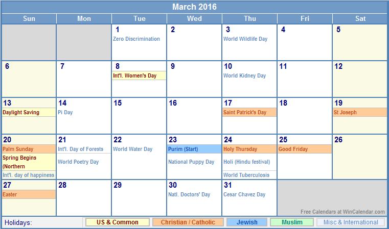March 2016 Calendar with US, Christian, Jewish, Muslim & Holidays