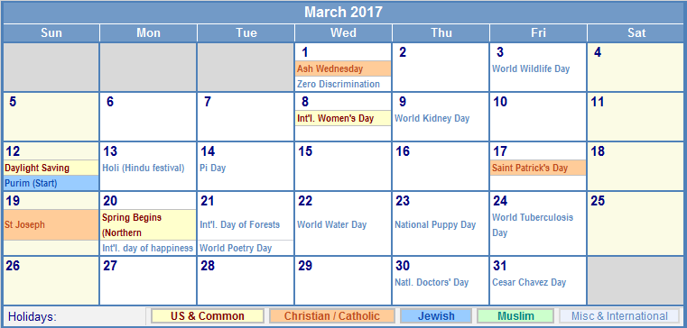 March 2017 Printable Calendar with US, Christian, Jewish, Muslim ...