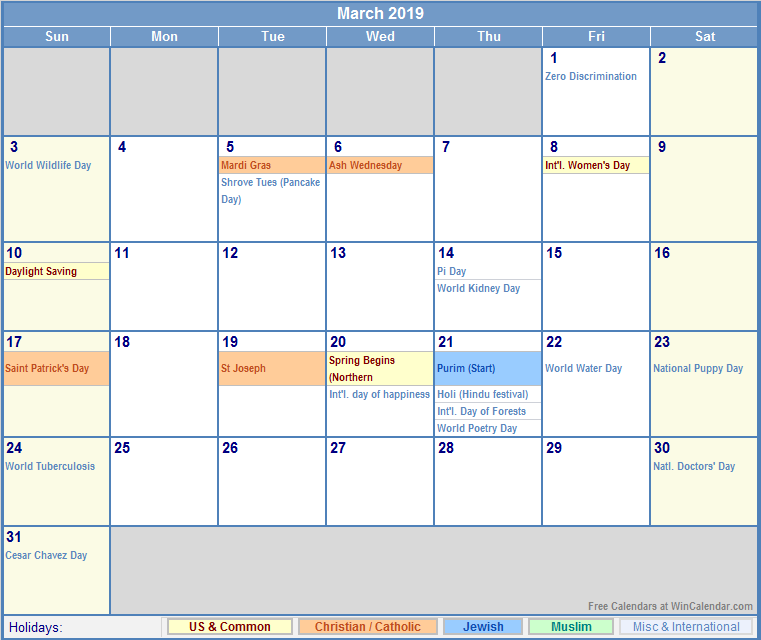 2019 Calendar March 2019 calendar with