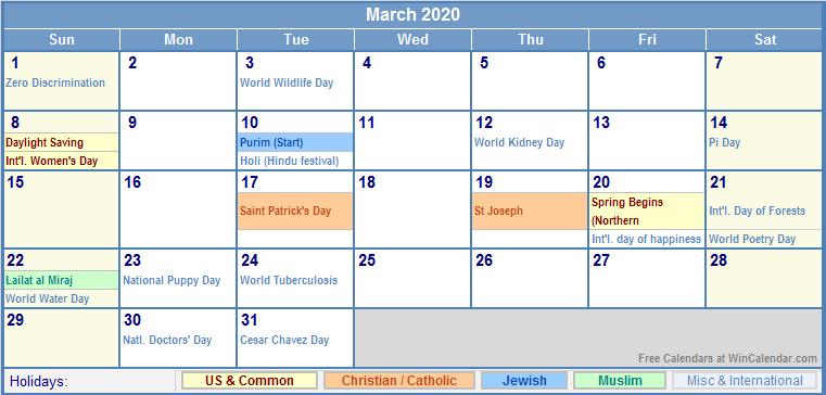 March 2020 Calendar with US, Christian, Jewish, Muslim & Holidays
