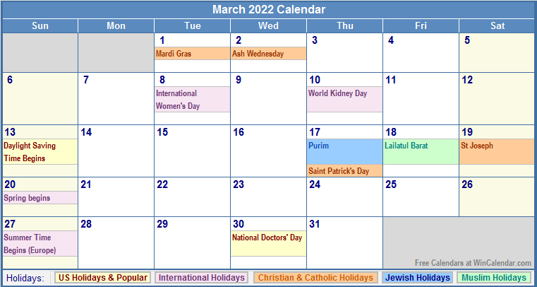 March Holidays March 2022 calendar with