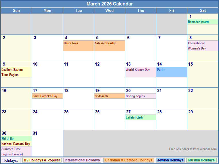 March Holidays | Search Results | Calendar 2015