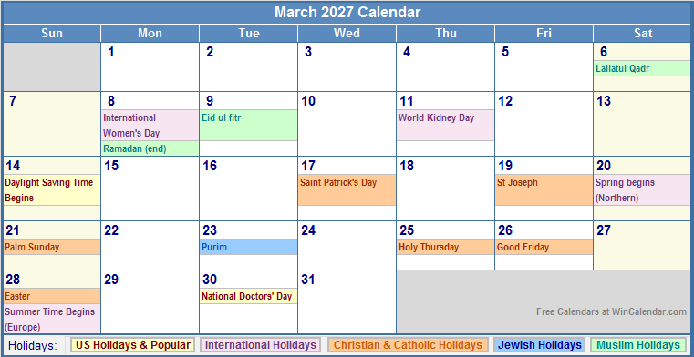 March 2027 Calendar with US, Christian, Jewish, Muslim & Holidays