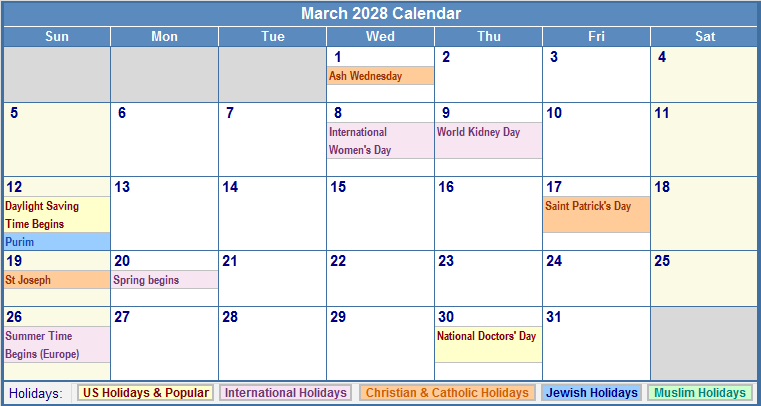 March 2028 Calendar with Holidays - as Picture