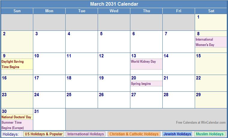 March 2031 Calendar with US, Christian, Jewish, Muslim & Holidays
