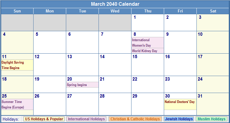 March 2040 Calendar with US, Christian, Jewish, Muslim & Holidays
