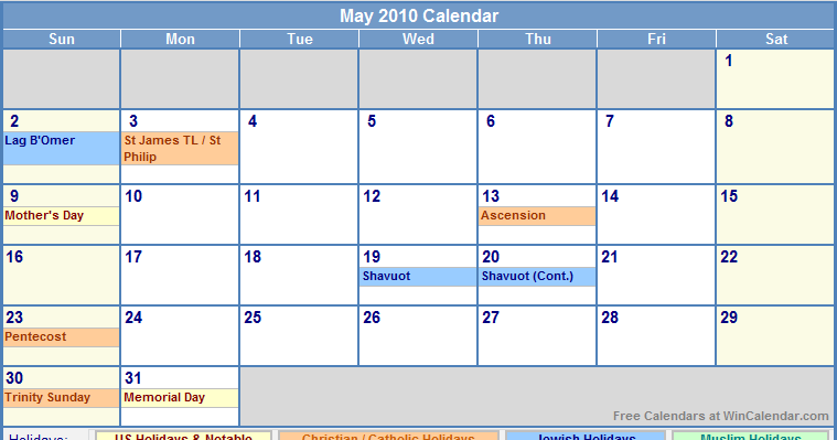 May 2010 Calendar with Holidays - as Picture