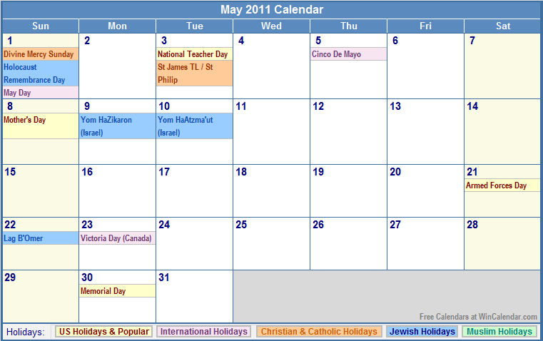 May 2011 Calendar with Holidays