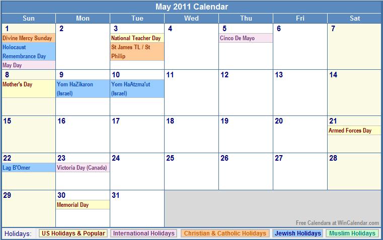 Calendar 2011 Holidays | New Calendar Template Site