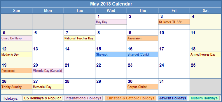 Calendar May 2013 : May calendar with holidays as picture