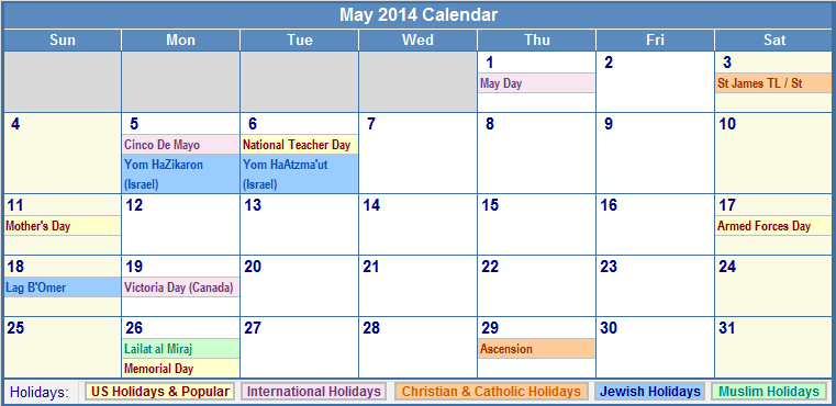 May 2014 Calendar with US, Christian, Jewish, Muslim & Holidays