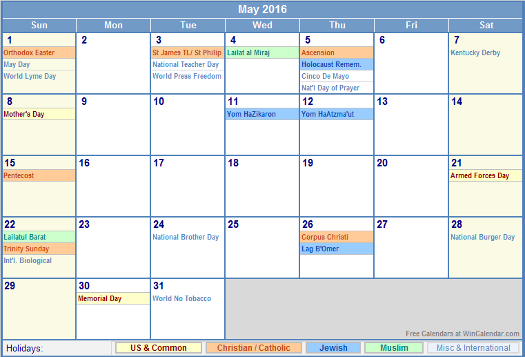 May 2016 Calendar with US, Christian, Jewish, Muslim & Holidays
