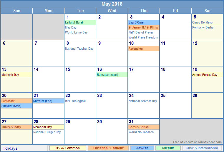 2018 Calendar With Holidays May 2018 calendar with View Image