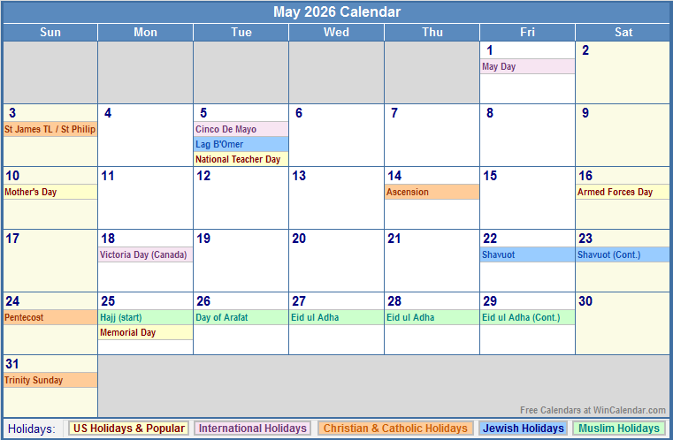 May 2016 Us Calendar With Holidays Wincalendar ...