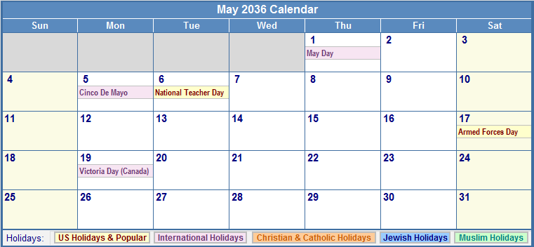 May 2036 Calendar with US, Christian, Jewish, Muslim & Holidays