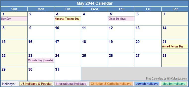 May 2044 Calendar with US, Christian, Jewish, Muslim & Holidays
