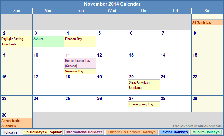 November 2014 Calendar with US, Christian, Jewish, Muslim & Holidays