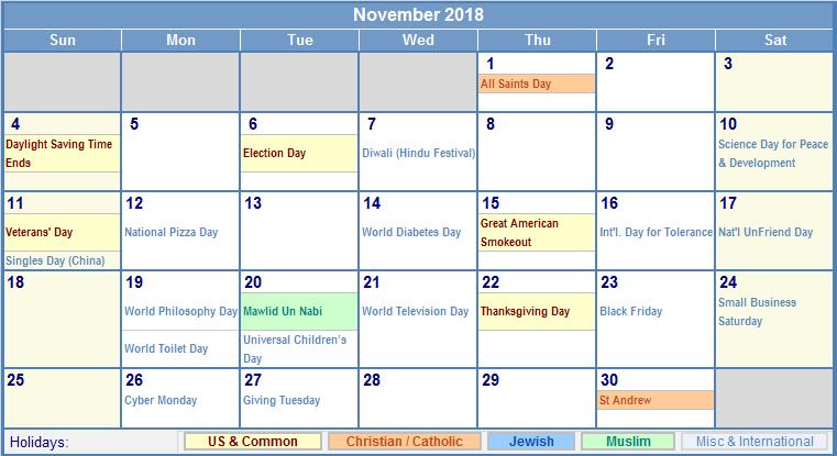 November Calendar With Holidays | Calendar Template 2016