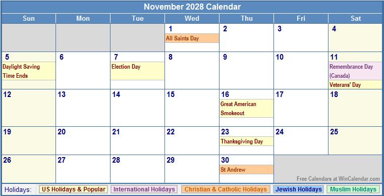 November 2028 Calendar with US, Christian, Jewish, Muslim & Holidays
