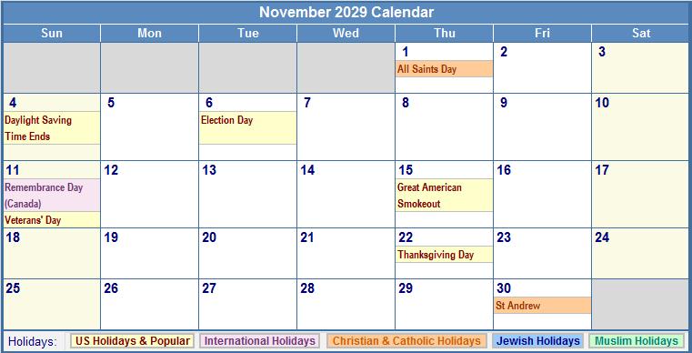 Printable November 2029 Calendar with Holidays.