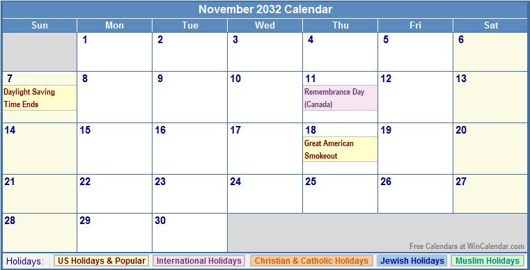 November 2032 Calendar with US, Christian, Jewish, Muslim & Holidays