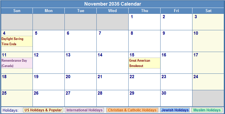 November 2035 Calendar with US, Christian, Jewish, Muslim & Holidays