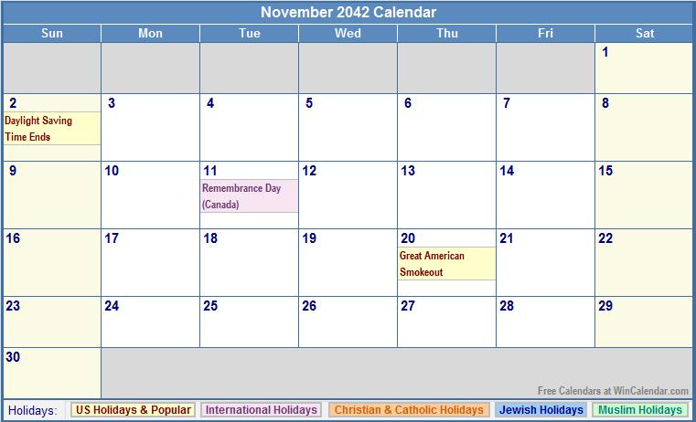 November 2042 Calendar with US, Christian, Jewish, Muslim & Holidays