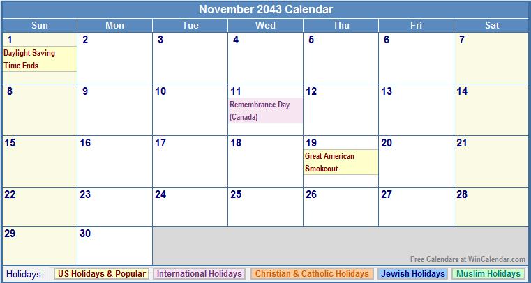 November 2043 Calendar with US, Christian, Jewish, Muslim & Holidays
