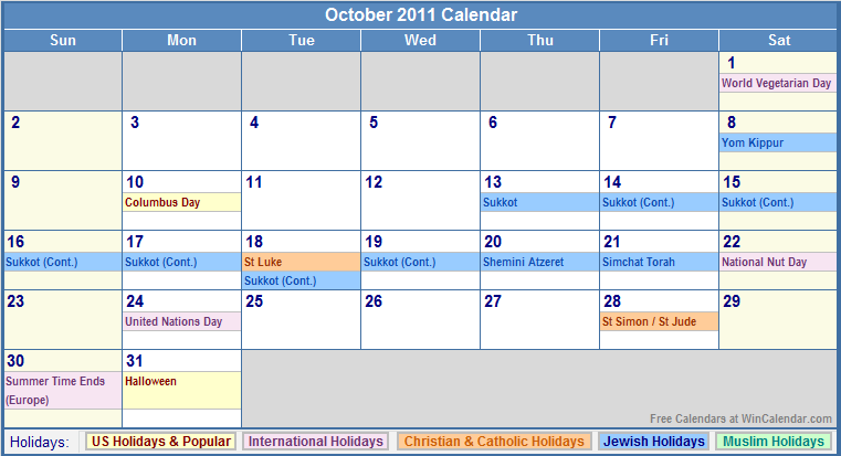 October 2011 Calendar with US, Christian, Jewish, Muslim & Holidays