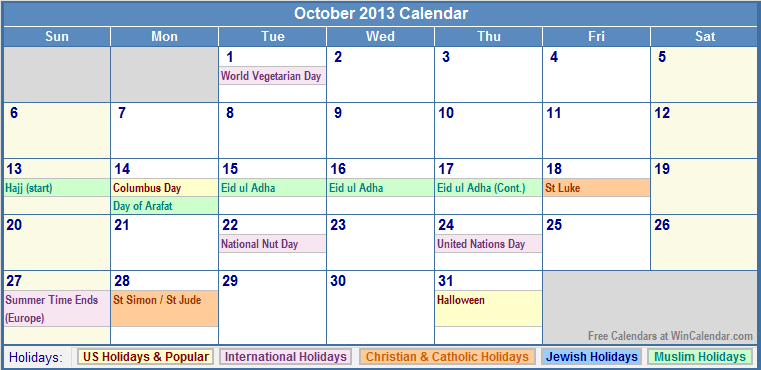 October Calendar 2013 : October calendar with holidays as picture