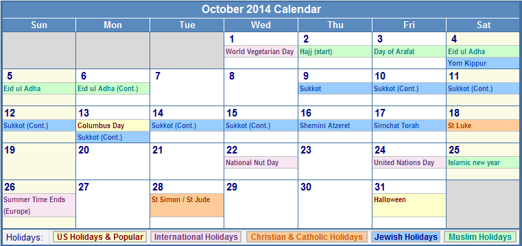 October 2014 Calendar with Holidays Printable