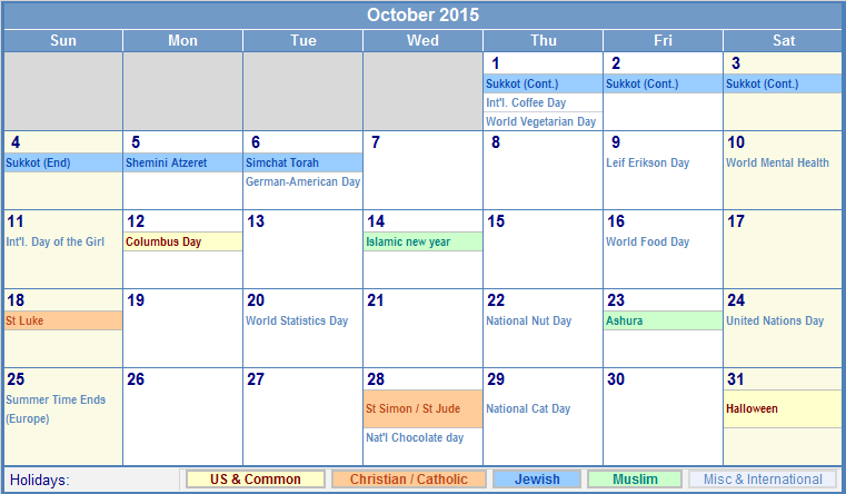 October 2015 Printable Calendar with US, Christian, Jewish, Muslim ...