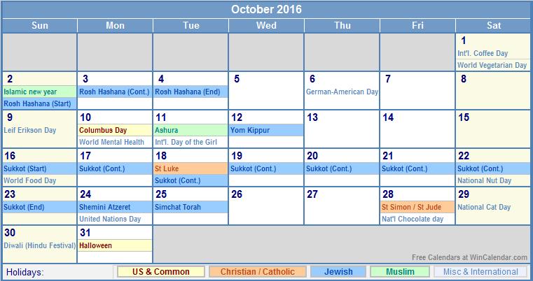 October 2016 Printable Calendar with US, Christian, Jewish, Muslim ...