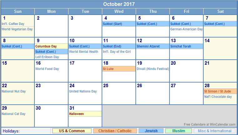 October 2017 Calendar In Kerala