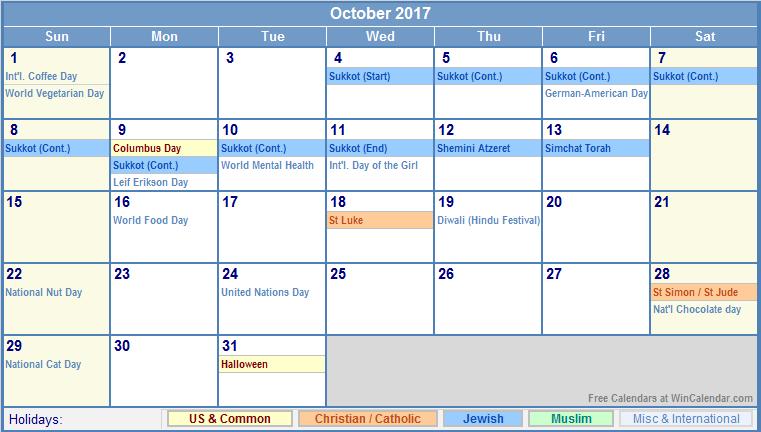 October calendar 2017 win